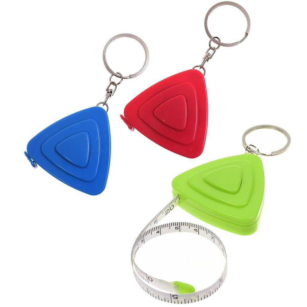 3pcs/lot Soft Retractable Ruler Measuring Tape With Key Ring
