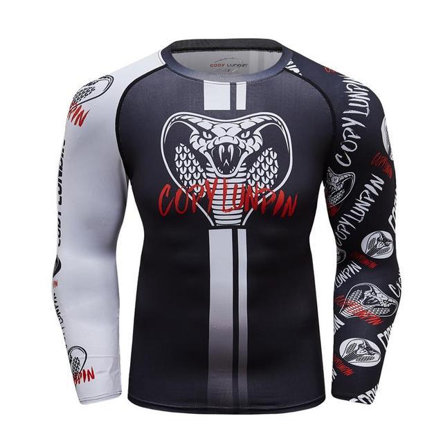 95de6b307dad Dark gray white sleeve 3D printing big snake head MMA gyms sweatshirt T- shirt 2018 new autumn winter men s long-sleeved shirt