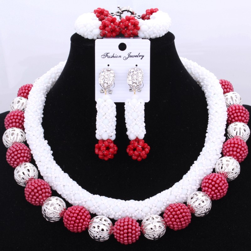 4UJewelry African Bridal Wedding Jewelry Sets Indian Silver and Red Balls Dubai Nigerian Jewellery Set Free Shipping 2018 Women 2016 cross shape rhinestone hollow out silver plated jewellery sets stylish indian wholesale fashionable jewellery sets