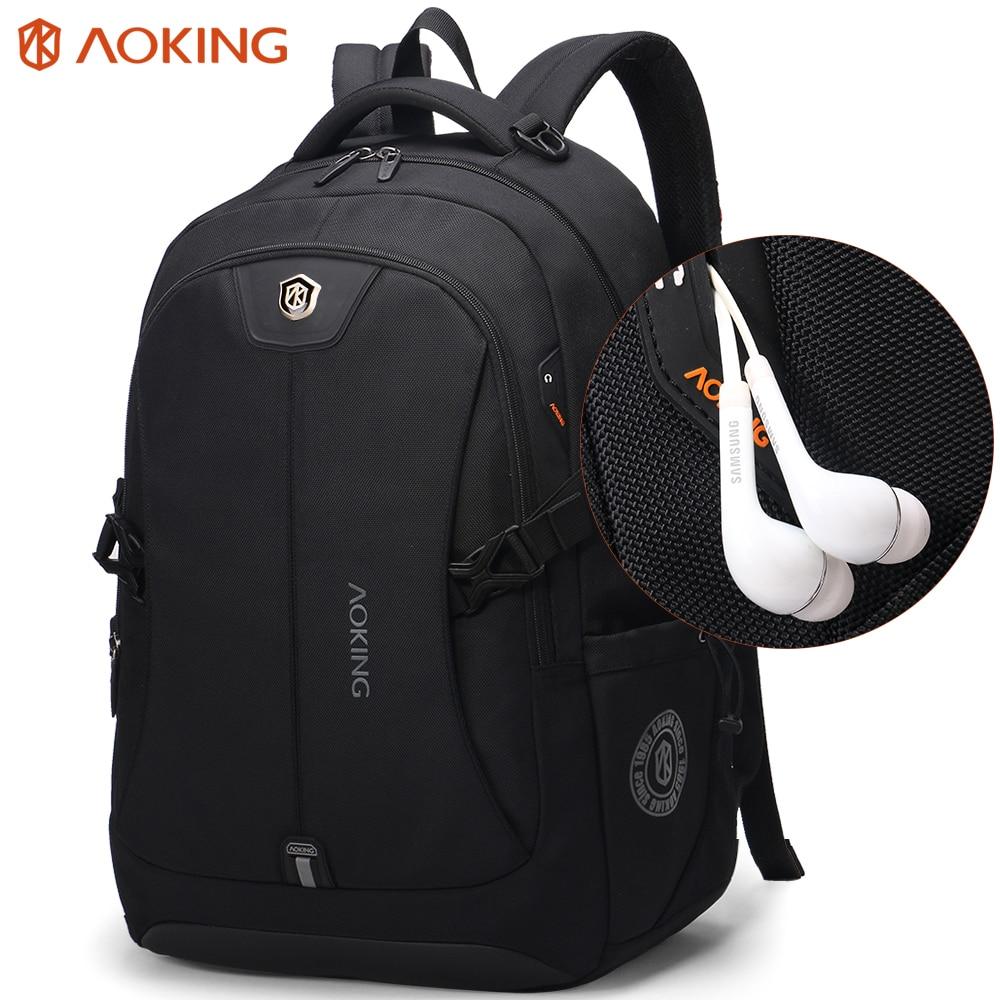 Aoking divat férfi hátizsák vízálló utazási táskák férfi poliészter komfort három méretű hátizsák számítógép laptop Packsack
