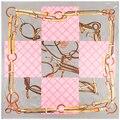 90 cm * 90 cm Pañuelo Seda de Mujer de Marca 2016 Nueva Moda Estilo Británico Rejilla de Seda Imitado Cadena de La Correa imprimir Bufandas Del Mantón de Hijab