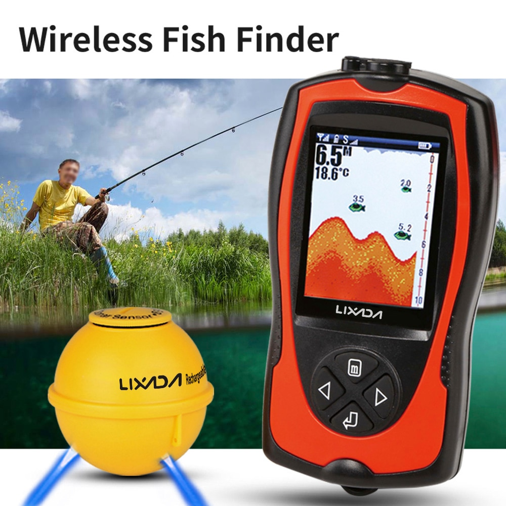 Lixada <font><b>FF1108</b></font>-<font><b>1CWLA</b></font> 2-in-1 Fish Finder With LCD Wireless Sonar Transducer Depth Locator Ocean Boat Alarm Fish Detector De Pesca image