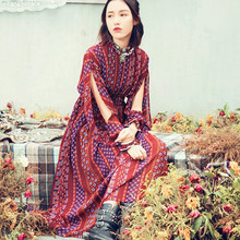 AIGYPTOS-Aporia.As]Autumn Women National Trend Bohemia Hollow Out Lantern Sleeve Stand Collar Print Loose Chiffon Long Dress