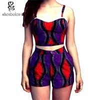 Africa Clothing 2018 new summer sexy Ankara batik wax print sleeveless vest outfit girls beautiful top+short pants Women's Sets