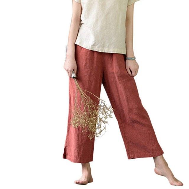 c53f5582c52 Women summer linen cotton Comfortable Harem Pants Elastic Waist Straight  pants Loose Casual flax Ankle-length Wide Leg Trousers