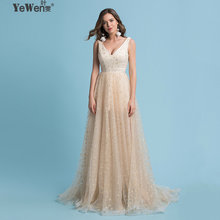 YeWen Luxury Gold Long Sequin Stars Evening Dress 2018 Double V Neck Evening  Gowns Sleeveless Prom Party Formal Dresses 6c5baaab8959