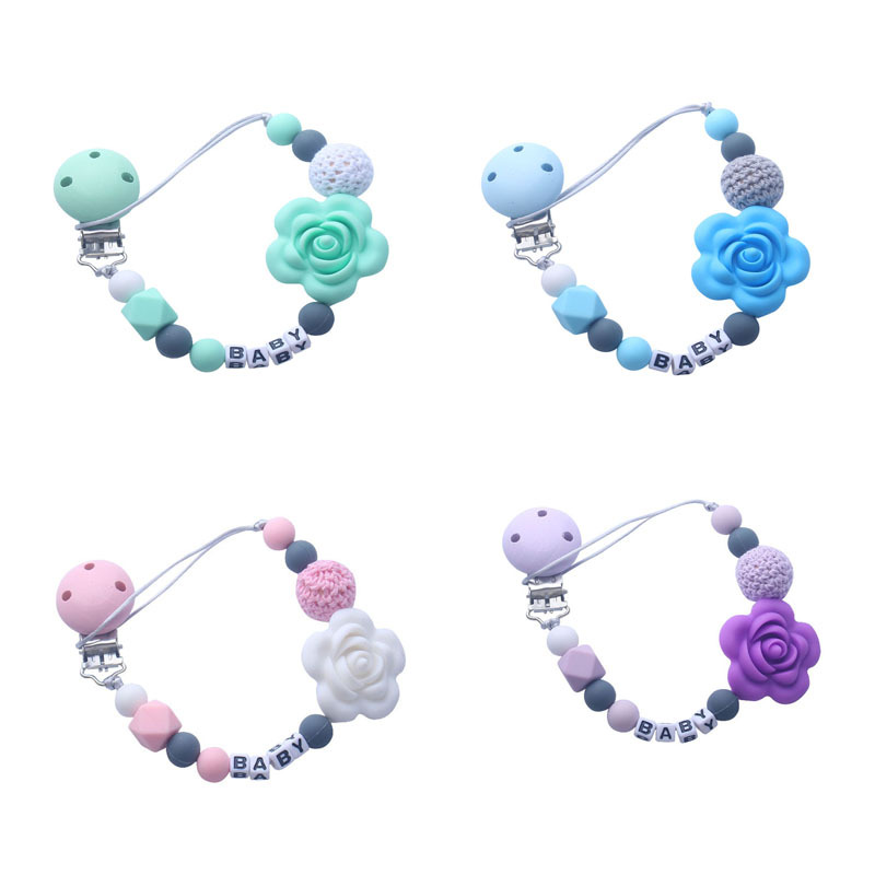 Rose Personalize Name Pacifier Clips Baby Chewable Silicone Beads Silicone Baby Pacifier BPA Free Nipple Holder Chupetero Clip