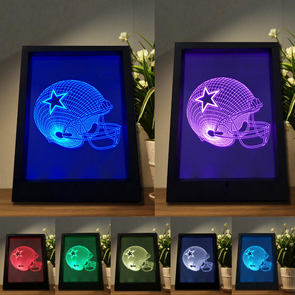 3D Dalla Star Lava LED Lamp American Football Helmet Sports Caps Fans Star Gifts Frame 7 Colorful Night Light Soccer Bulb Lamp soccer fans football colorful hair coser wig wild curl up tuba ball blast head clown hilarit party headwearing
