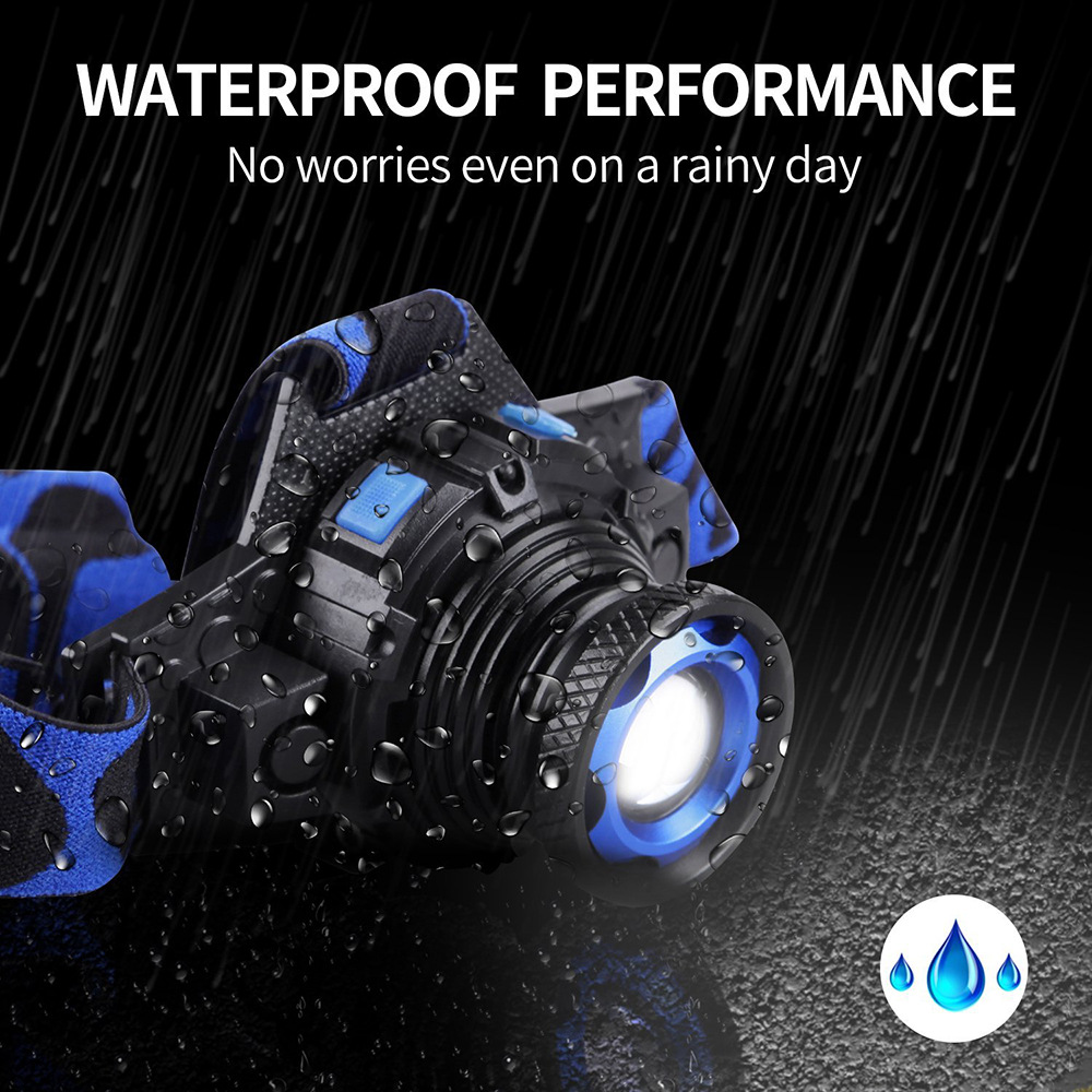 Купить с кэшбэком Waterproof LED headlamp rechargeable headlight Q5 LED Rotary zoom 3 modes head lamp Built-in lithium battery + charger + USB