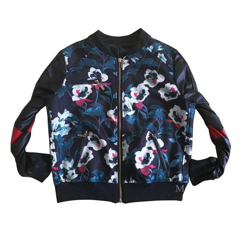 Baseball Biker Manteau Maryjolan Outwear Fermeture Nouveau 0 Femme 2019 Moto Courte Éclair Veste col Casual Patchwork Mode De B5B6q