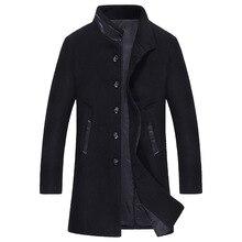 Новый Slim Fit Длинная Шерсть и смеси Качество Черный Синий Серый Цвета Полушерстяные Пальто Мужчины Зима
