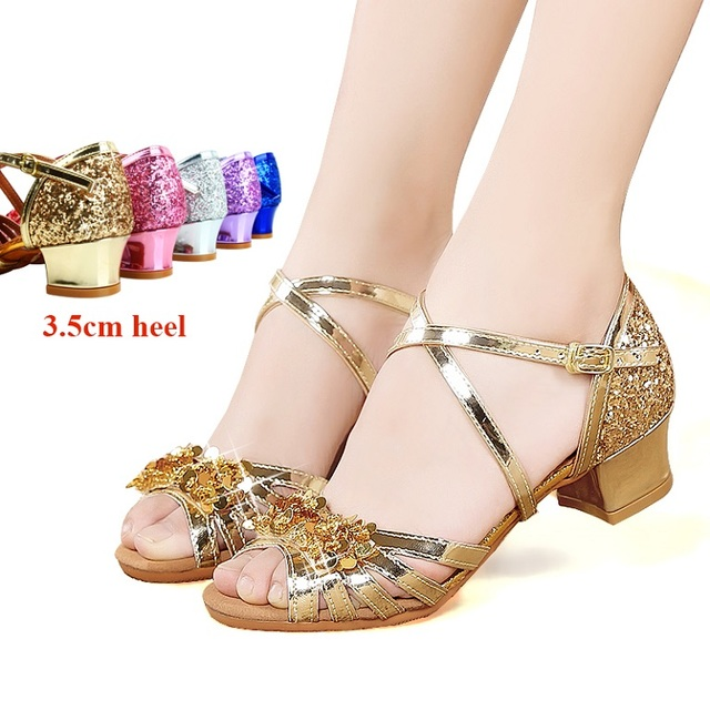 fcfd1be83 Girls' shining sequins and beads Latin dance shoes Cha-cha shoes kids' low  heel Ballroom shoes stage performance shoes 26-39