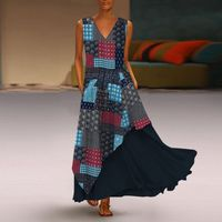 Fashion 2019 Summer Vintage Bohemian Dress Long Maxi Vestidos Women Sexy V Neck Sundress Casual Patchwork Two Pieces Robe Femme