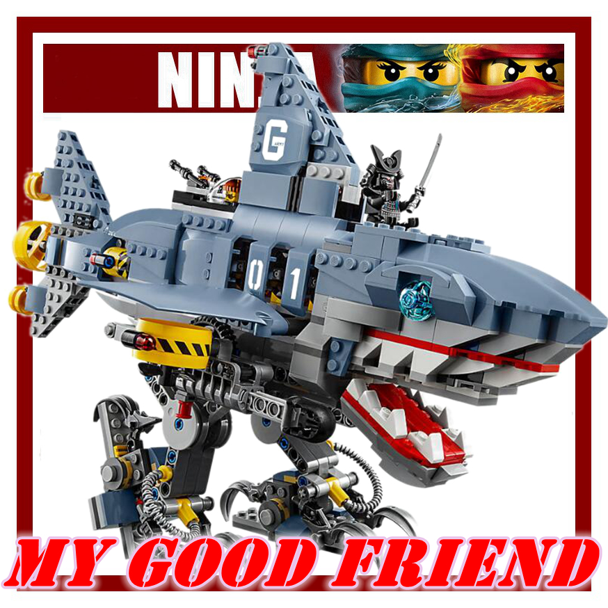 Lepin Building Blocks Bricks Compatible with legoe Defend NINJA City from Garmadon Shark Mech attack Model for children gifts lepin 663pcs ninja killow vs samurai x mech oni chopper robots 06077 building blocks assemble toys bricks compatible with 70642