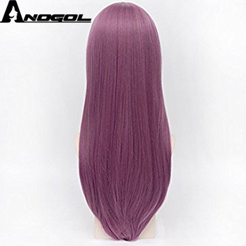 Anogol Tokyo Natural Long Straight Ghoul Side Part Purple Synthetic Cosplay Wigs For Halloween Party