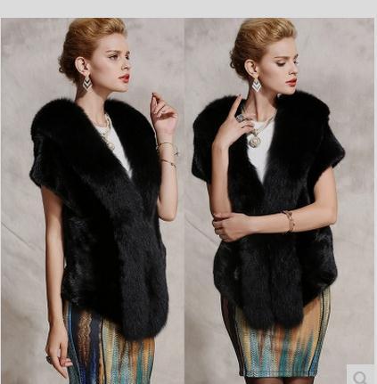 Xs/4Xl Womens Imitation Faux Mink Fur Vest Coats Large Size Faux Fur Black Man-Made Fur Vest Coats Casual Waistcoats V Neck C14