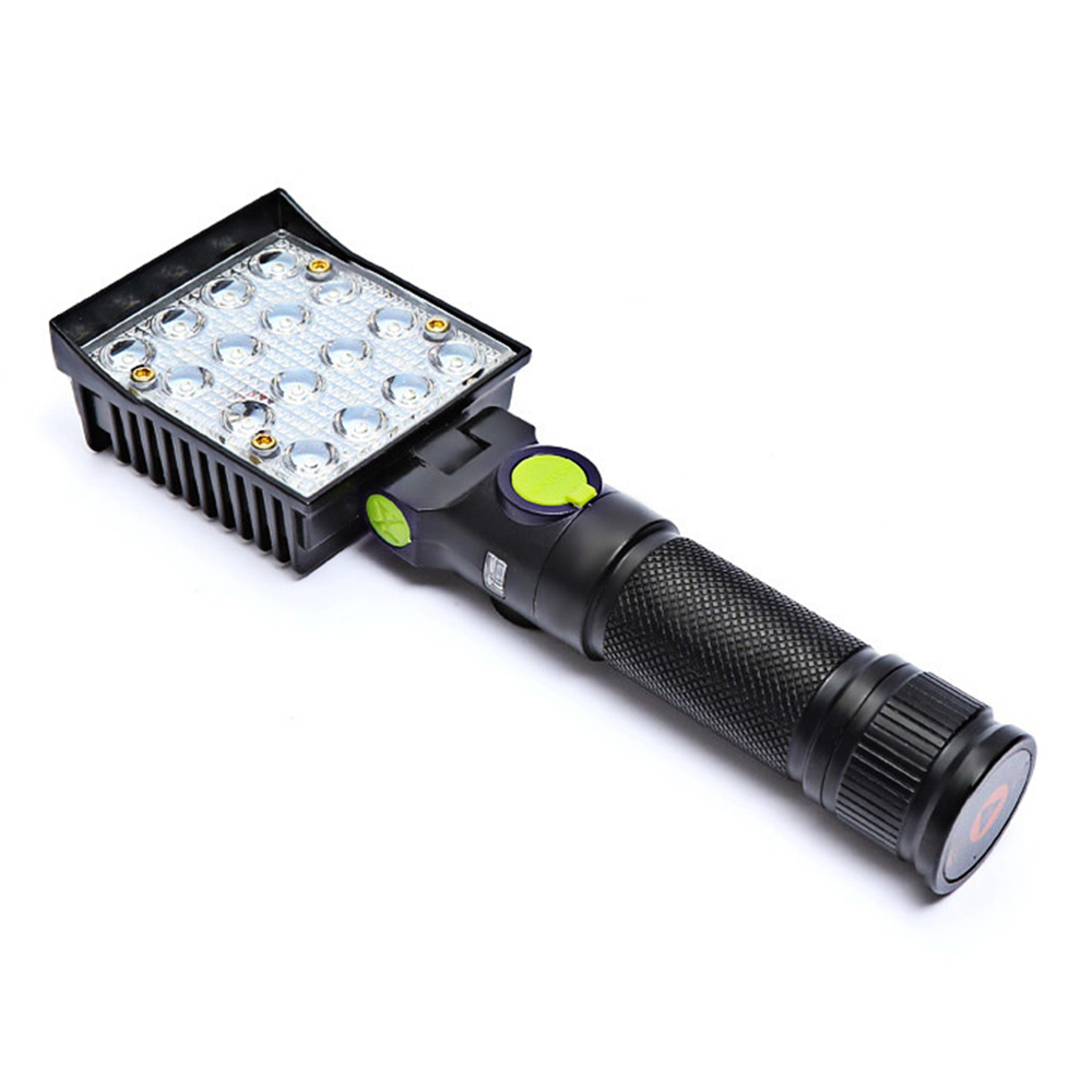 16 LEDs Work Flashlights White Red Blue Light Car Repair Working Lamp USB 18650 Torch Built-in Magnet Hook Tent Camping Lantern