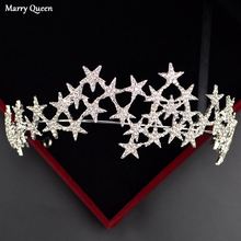 New Star Shape Design Style Fashion Rose Gold Crown Beautiful And Silver Color Bride Wedding Rhinestone Hair Accessories