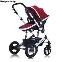 Russia Free shipping Baby carriage high landscape can sit lie and winter children's double-sided shock cart portable folding chi
