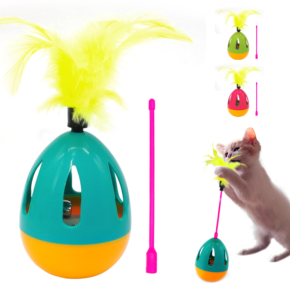Feather Cat Toy Interactive Kitten Stick Toys Cat Pet Scratching Sound Squeak Ball Toy With Bell For Cats Playing Training Pink