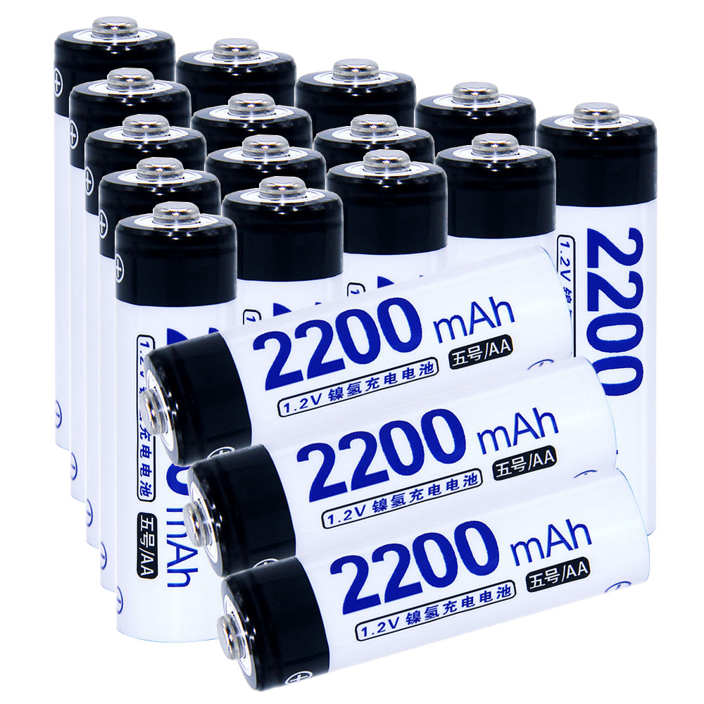 Real capacity! 18 pcs AA 2200mah 1.2V NIMH AA rechargeable batteries for camera razor toy remote control flashlight 2A