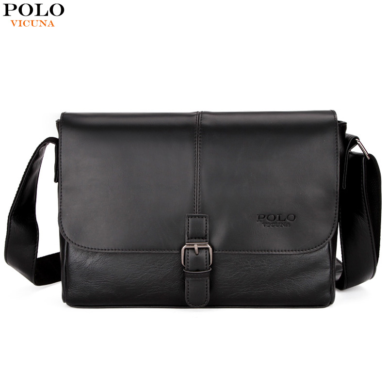 27767b4ef49 VICUNA POLO Magnetic Buckle Open Casual Shoulder Bags Man England Style  Men's Crossbody Bag Travel Brand Leather Messenger Bag
