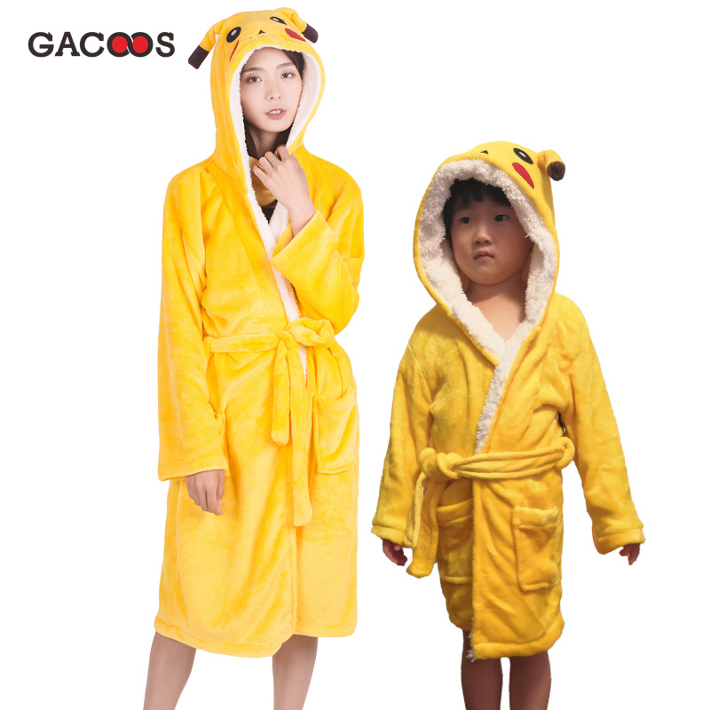 Pikachu Bathrobe For Women Kids Nightgown Panda Animal Bathing Suit Boy Girls Unicorn Robe Winter Warm Sleepwear Cartoon Pyjamas
