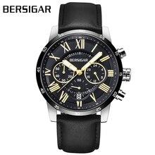 Herenhorloge BERSIGAR мужские часы черный кожаный ремешок спортивный хронограф часы в деловом и повседневном стиле кварцевые часы Relogio Masculino