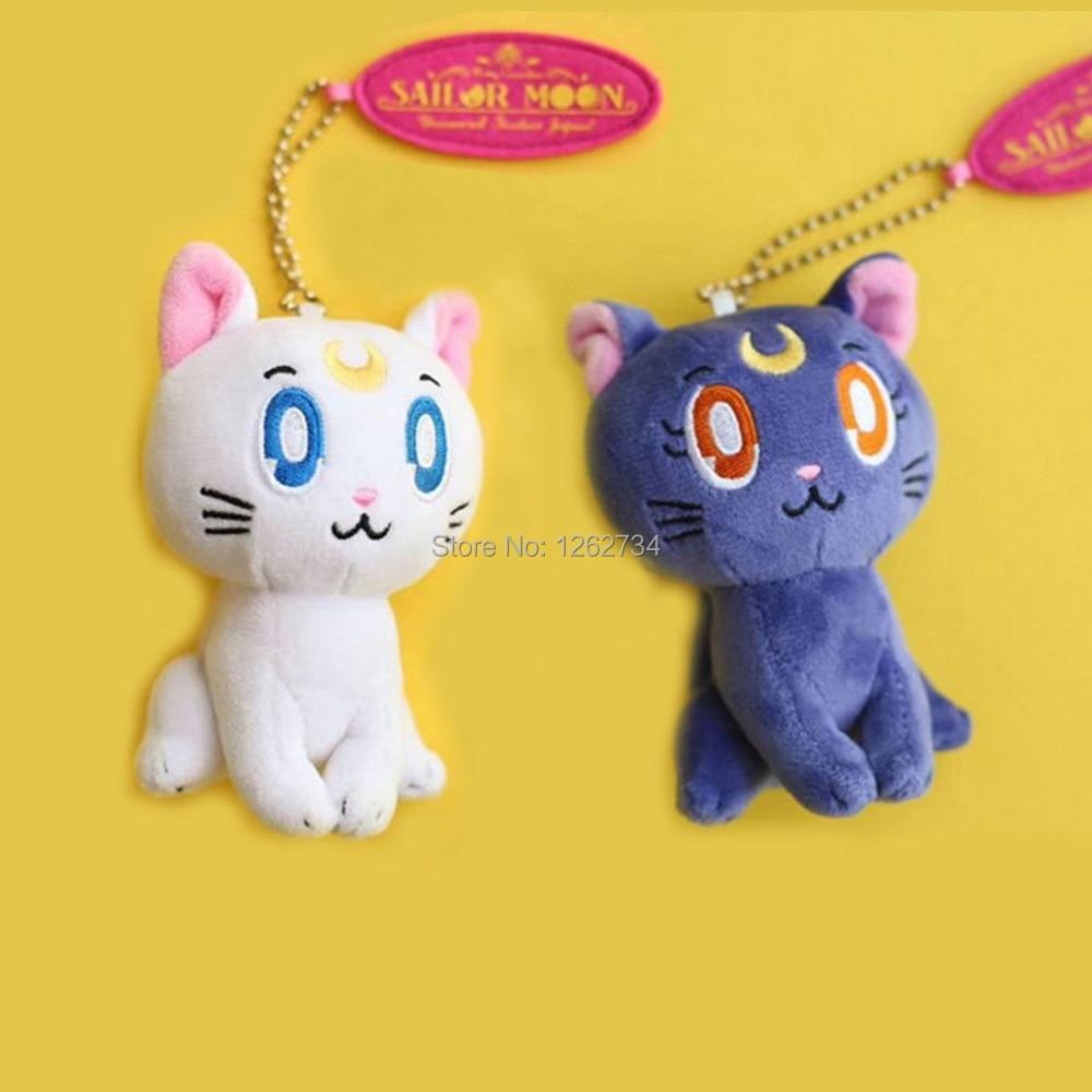 Spirited 10/lot 2 Colors Sailor Moon Cat Luna 10cm Pendant For Children Plush Doll Keychain Figure Retail Toys & Hobbies