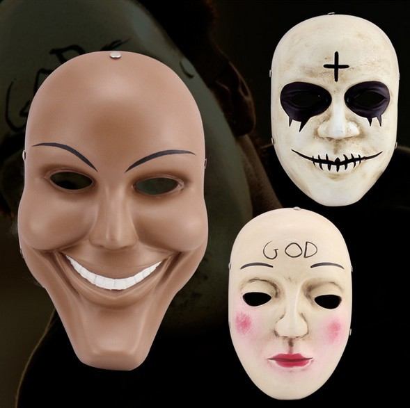 New The Purge Mask Terror Film Human Clear Plan God Cross Full Face Resin Masks Halloween Masquerade Party Cosplay Costume Props
