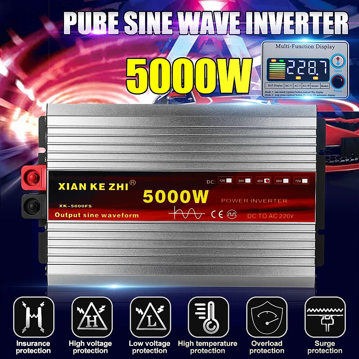 Intelligente 5000 W Onda Sinusoidale Pura Inverter DC 12/24/48/60/72 V A AC 220 V 50Hz Inverter di Potenza del Convertitore Display LCD