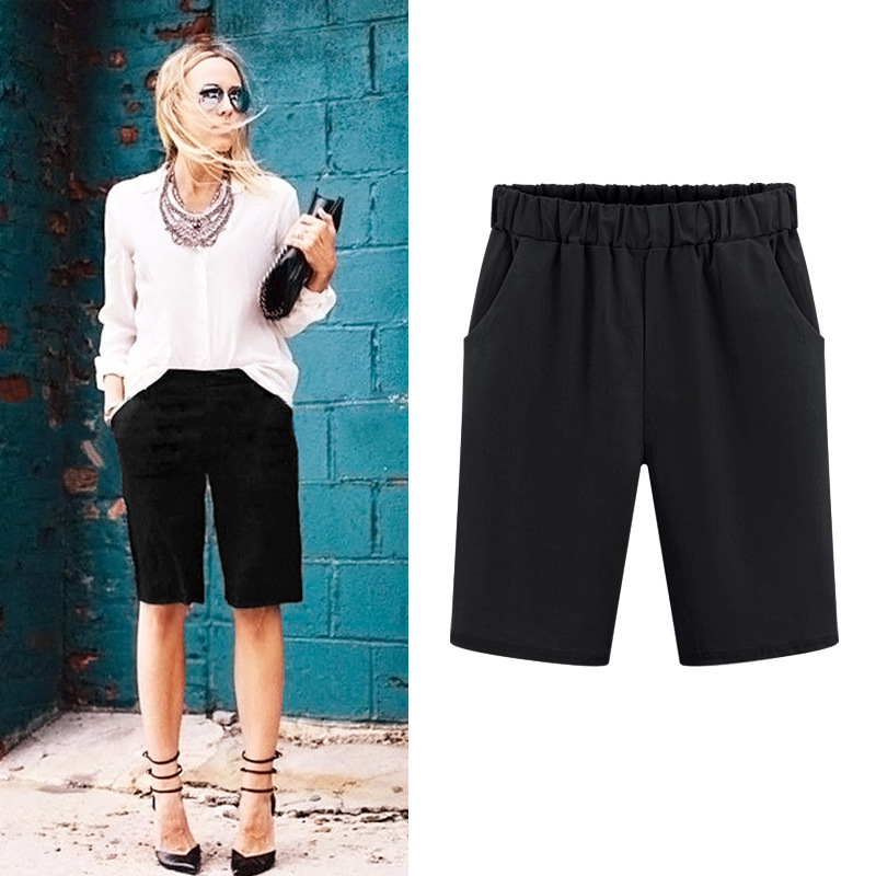 2018 Summer   Shorts   Women Big Size Solid   Shorts   Straight Style Fashion Elastic Mid-Waist   Short   Feminine Casual   Shorts   Mujer 6XL