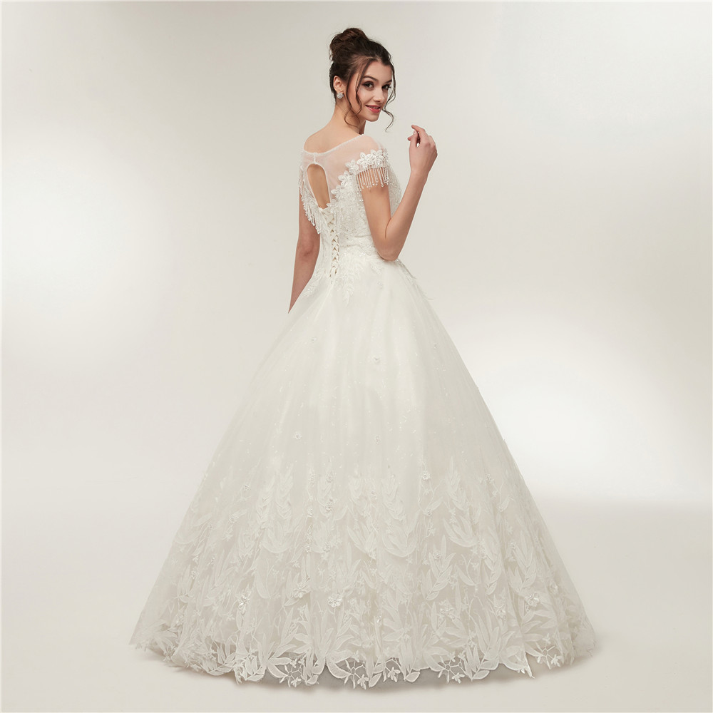 Aliexpress Scoop Neckline Leaf Lace Lique Ball Gowns Princess Wedding Dress Crystals White Ivory Bridal From Reliable