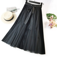 цены New 2019 New Hot Spring and Summer  Velvet Swing  Long Waist High Waist Half Skirt Mesh Half-length Petti skirt
