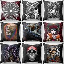 Hot sale many styles  funny skull skeleton pattern women men Pillow case boys girls weeping willow size 45*45cm