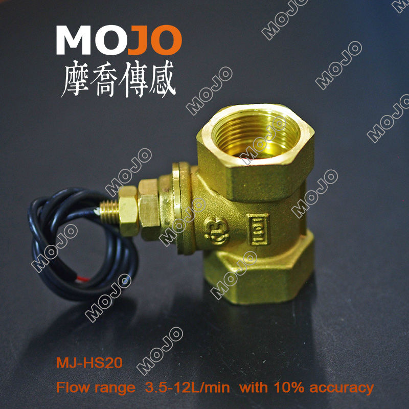 Free shipping!!(3pcs/lot)MJ-HS20 copper G3/4 flow sensor with 3.5-12L/min control water flow for water chiller Flow Switch