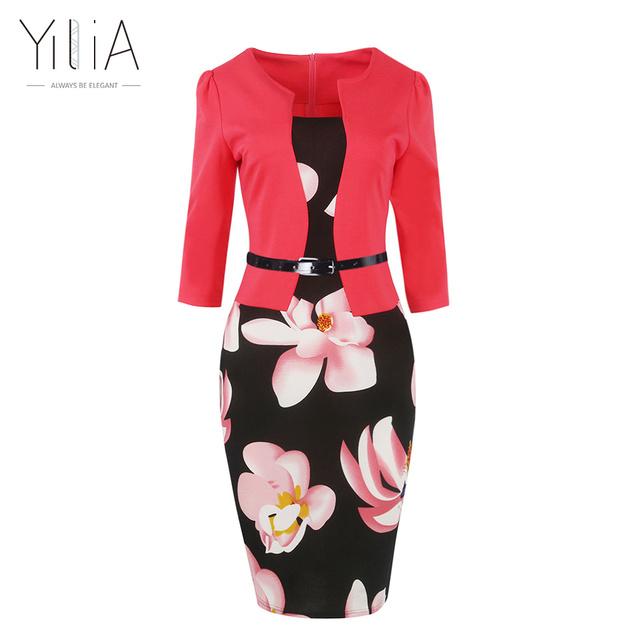 Yilia frauen one piece patchwork blumendruck elegante geschäfts partei formale büro plus größe bodycon bleistift casual arbeit dress