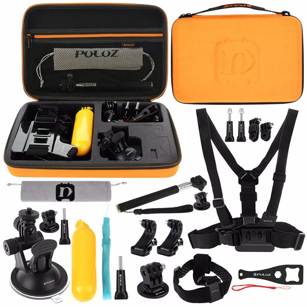 20 in 1 Accessory Combo Kit with Orange EVA Case for GoPro HERO7/6 /5 /5 Session/4 Session / 4/3 + / 3/2/1 and Other Action Cams цена
