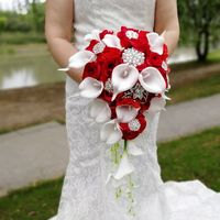 Waterfall Red Wedding Flowers Bridal Bouquets Artificial Pearls Crystal Wedding Bouquets De Mariage букет невесты