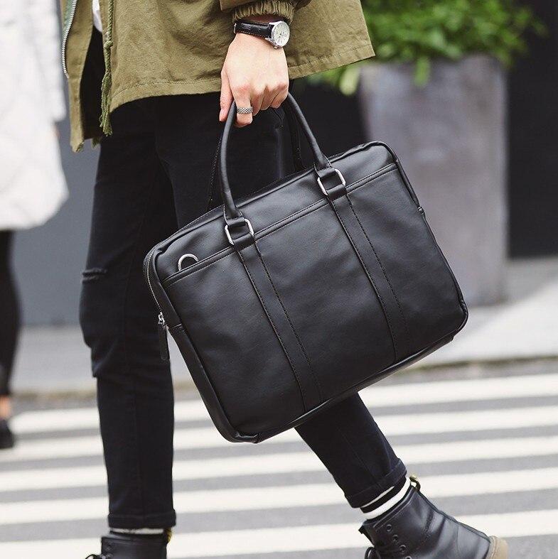 Zipper Solid Business OL  Briefcases Pu Leather  Computer Bag Computer Interlayer Fishion Handbag Single Shoulder Bag