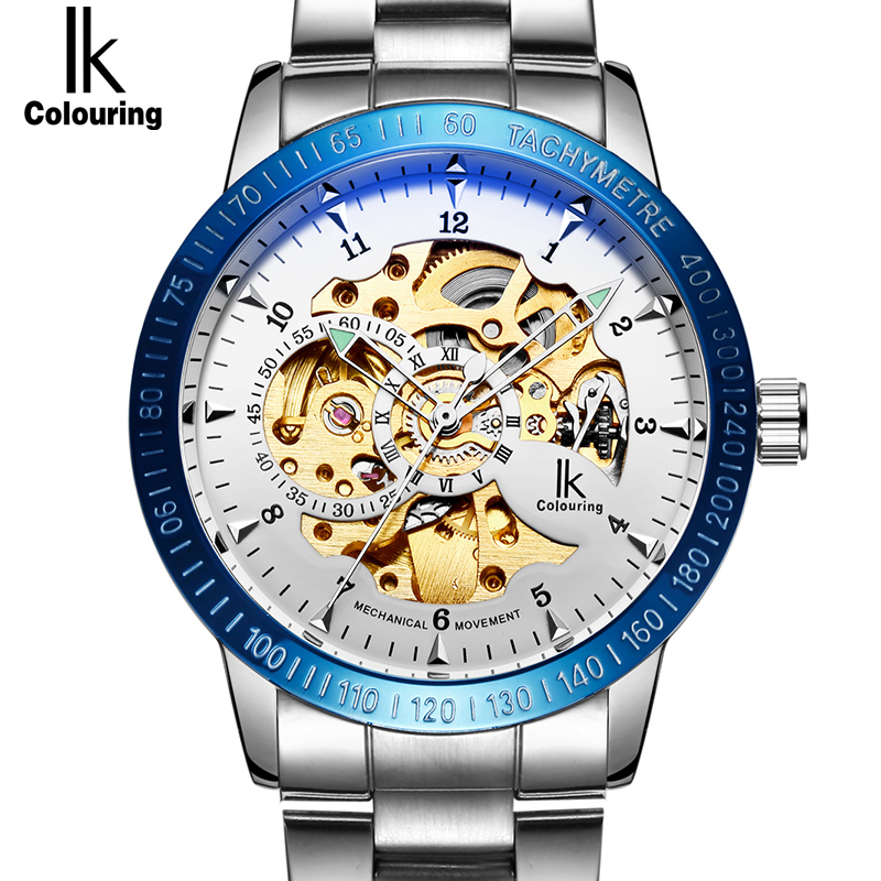 IK Brand Stainless Steel Luminous Automatic Mechanical Watches Men Brand Luxury Transparent Hollow Skeleton relogio masculino