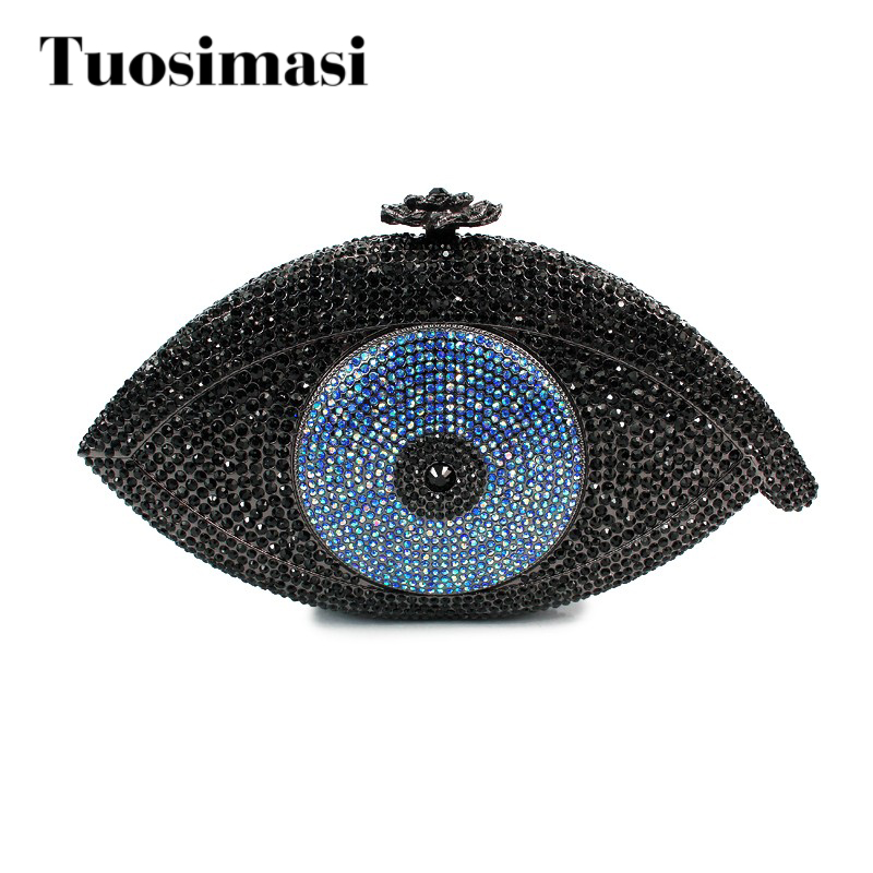 Newest hot selling eye shape crystal clutch evening handbag blue and black color women purse with sliver chian  (8867A-B) women custom name crystal big diamond clutch full crystal hot selling 2017 new fashion evening bags 1001bg