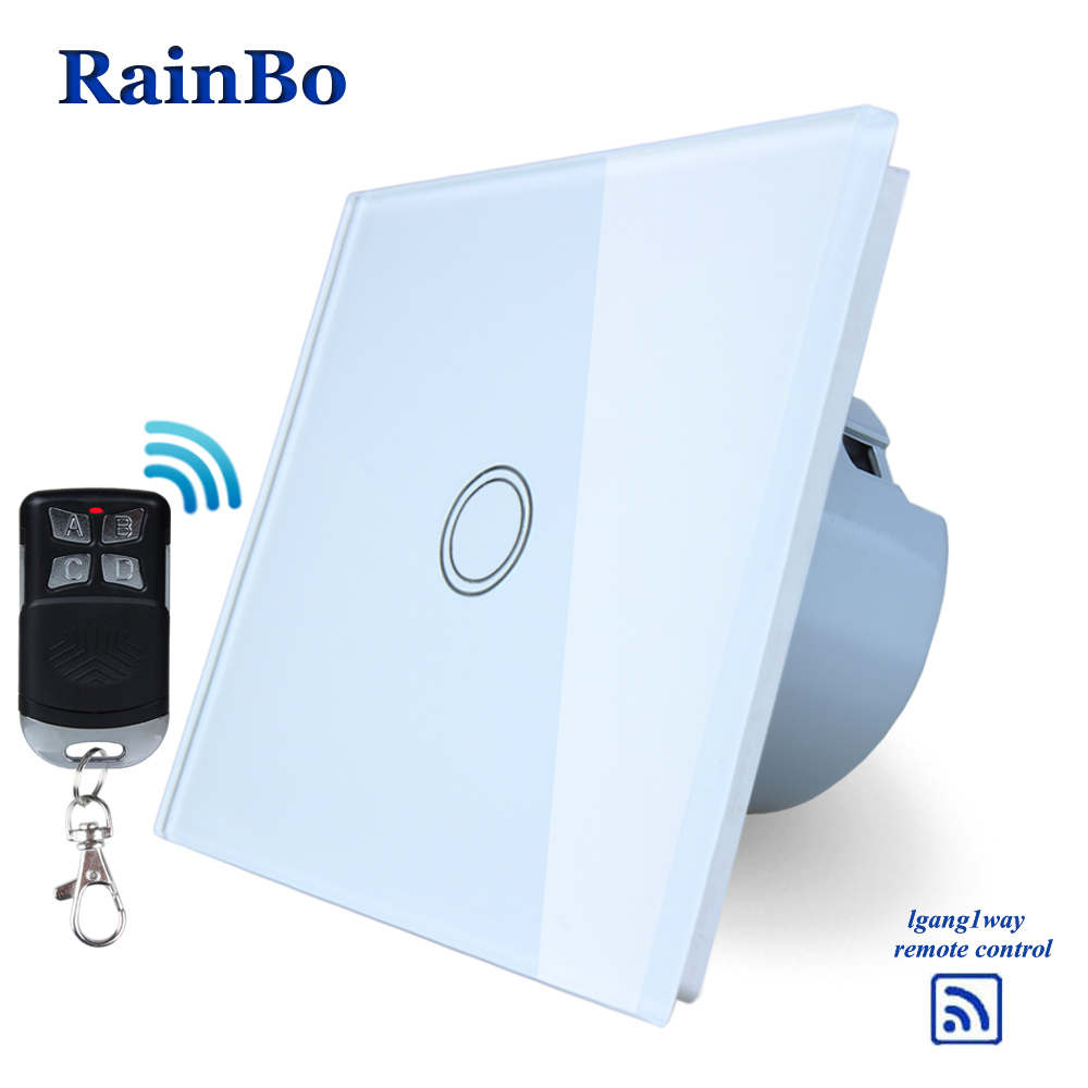 RainBo Crystal Glass Panel Switch EU Wall Switch 110~250V Remote Touch Switch Screen Wall Light Switch 1gang1way  A1913XW/BR01 rainbo crystal glass panel switch eu remote control wall switch ac250v touch switch light switch 2gang1way led lamp a1923w br01