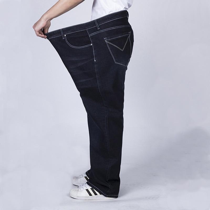 SHABIQI 2019 BIG Jeans Men Elastic Waist Plus Size Full Length Denim Pants Very Big Size 36 38 40 42 44 46 48