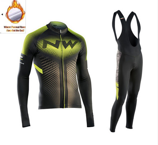 2018 NW Winter Thermal Fleece Cycling Jersey Long Sleeve Jerseys Cycling Bib Pants Set Bike Bicycle Cycling Clothes 3 Color
