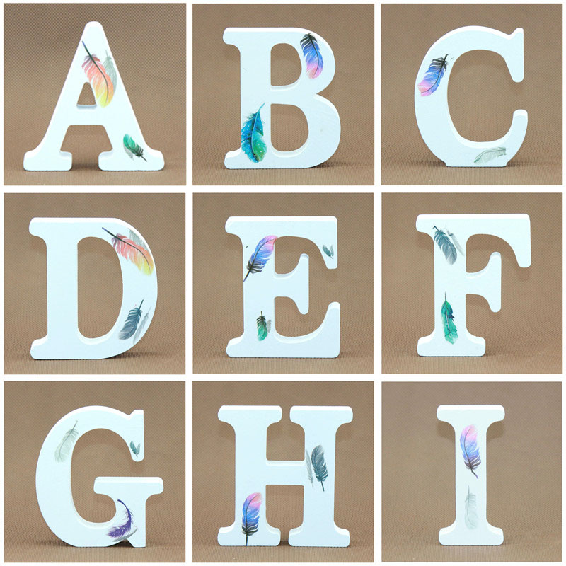 1pcs 10X10cm White Wooden Letters Decorative Alphabet Word Wood Letters Feather Wedding DIY Name Design Art Crafts Standing