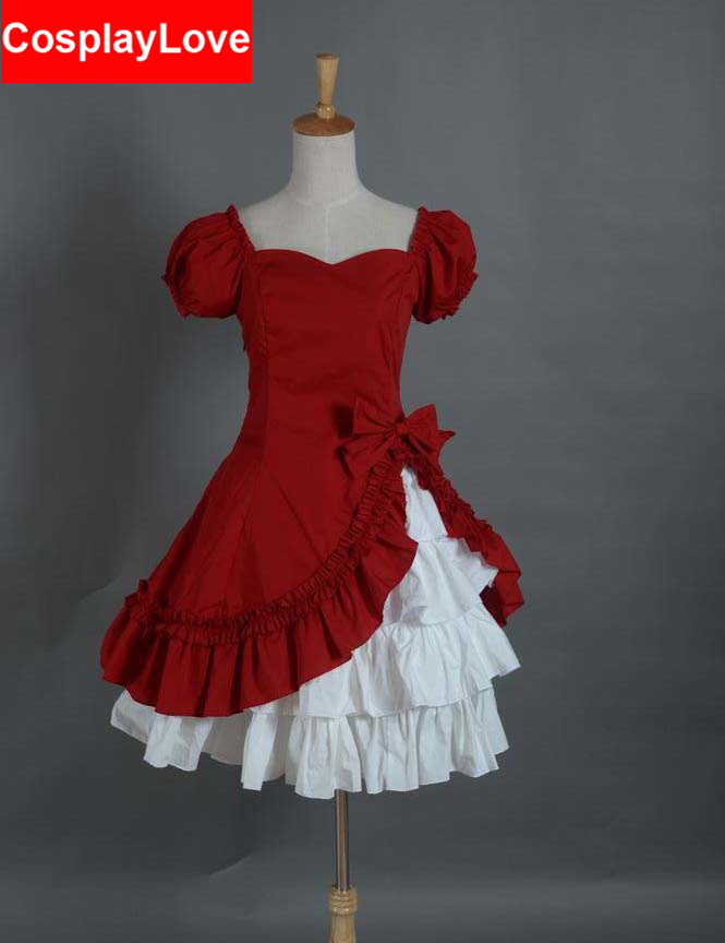 Sweat Lolita Dress Punk Gothic Red Cosplay Costume Custom-Made For Halloween Christmas Birthday CosplayLove