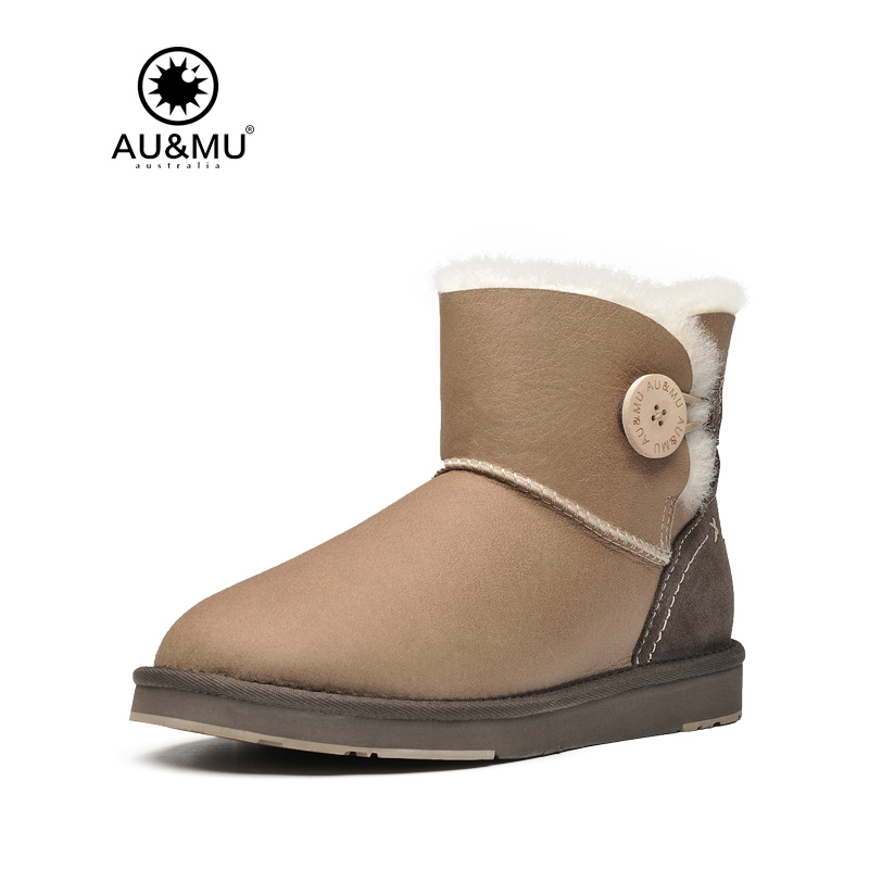 Australian Aumu 2017 Fashion Women 100% Wool Warm Shearling Snow Boots Fur Button Winter Girl Shoes Woman N060