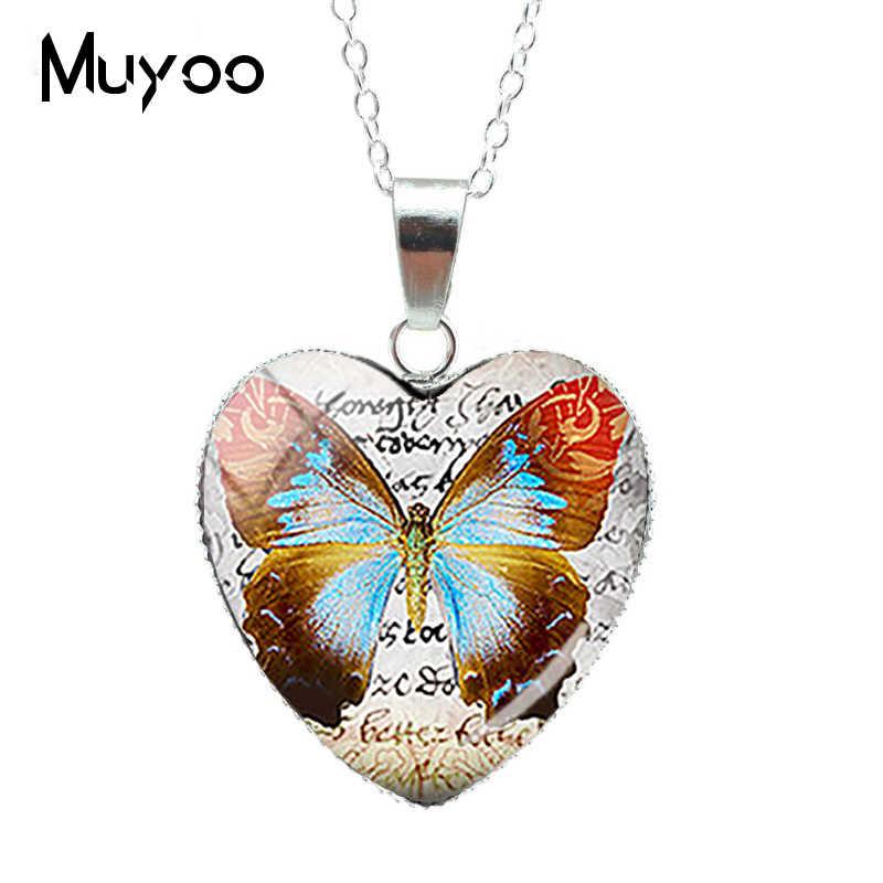 Vintage mariposa cristal corazón colgante Vintage mariposa corazón collar flores Vintage joyería regalos hechos a mano para FriendsHZ3