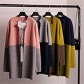Novo 2016 Primavera Outono Moda Feminina da Coréia Mulheres Camisola Jaqueta de Cor da Pelagem Em Longa Camisola Feminina Cardigan B014